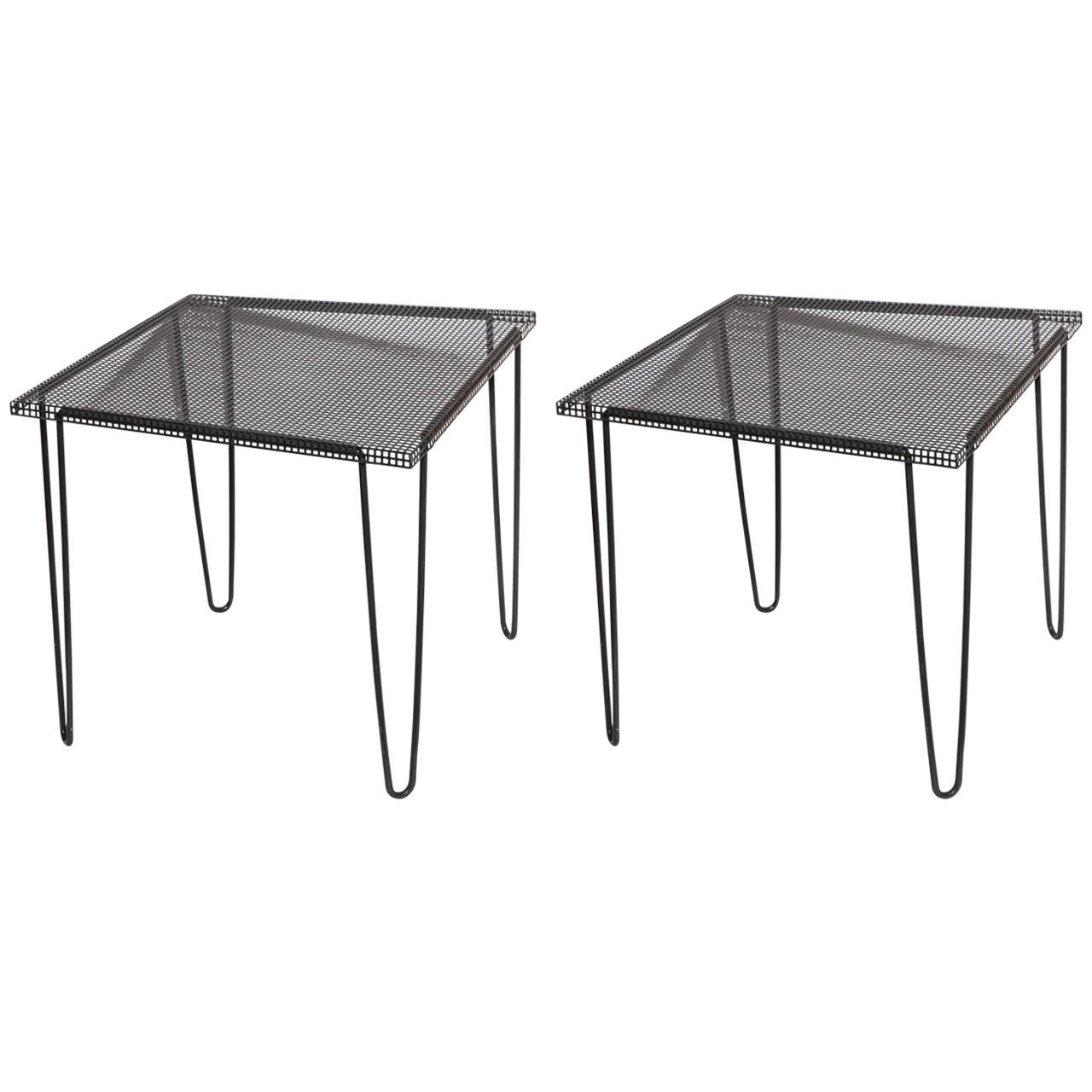 Pair Of 1950s Mathieu Matégot Style Perforated Black Iron Occasional Tables  For Sale