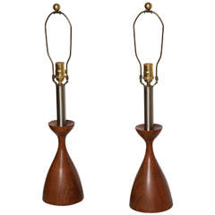 Pair of 1950s Solid Turned Walnut and Brushed Steel Candlestick Lamps