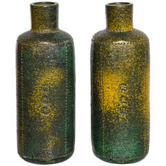 Pair of 1950s Bitossi Ceramic Vases by Aldo Londi in Green, Brown and Yellow
