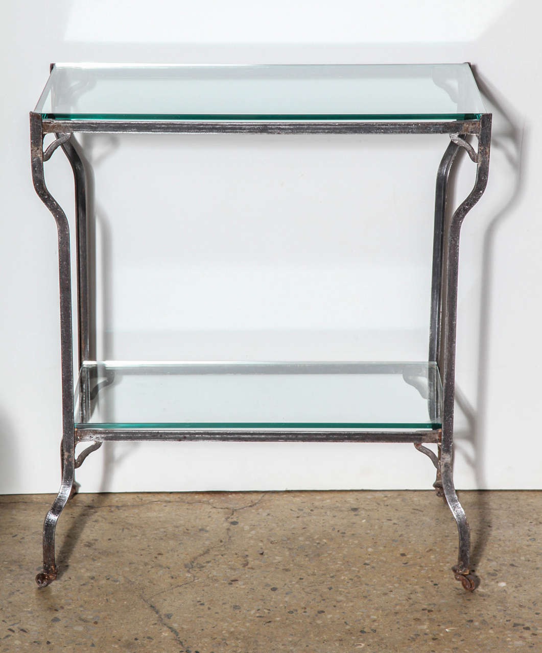 rolling steel beverage cart with two glass shelves and. Black Bedroom Furniture Sets. Home Design Ideas