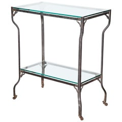 Circa 1890s Two Tier Steel Rolling Etagere with Two Glass Shelves