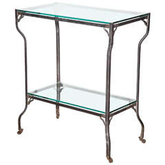 Rolling Steel Beverage Cart with Two Glass Shelves and Cabriole Legs circa 1890s