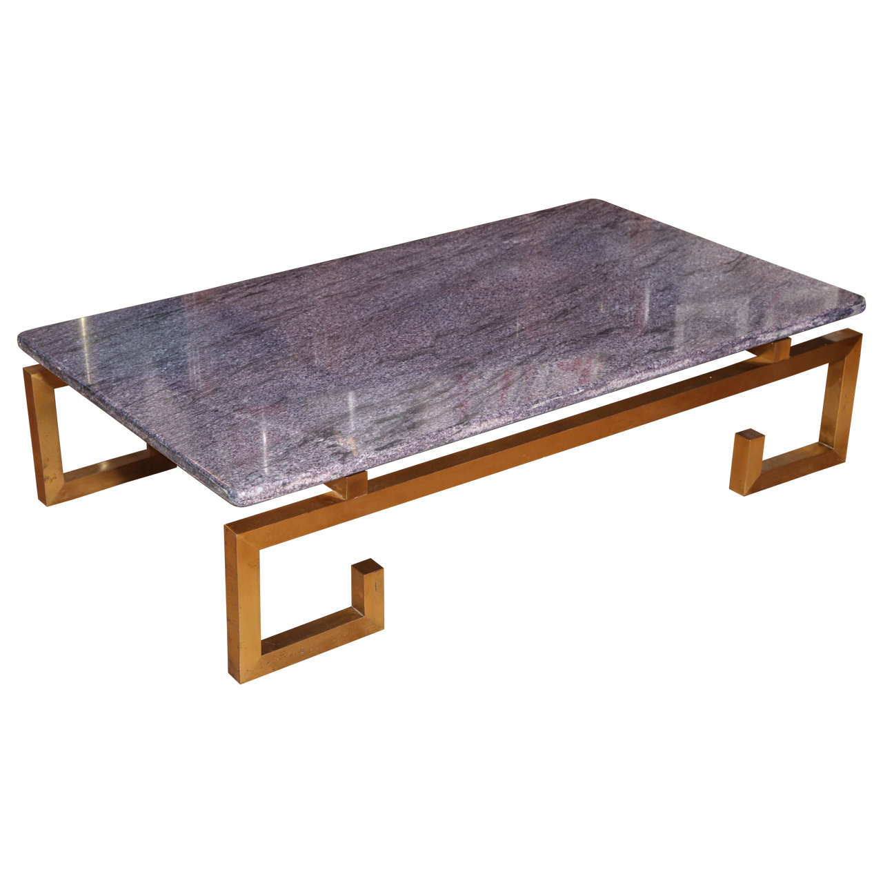 Large Brass And Mauve Blue Marble-Top Coffee Table, France