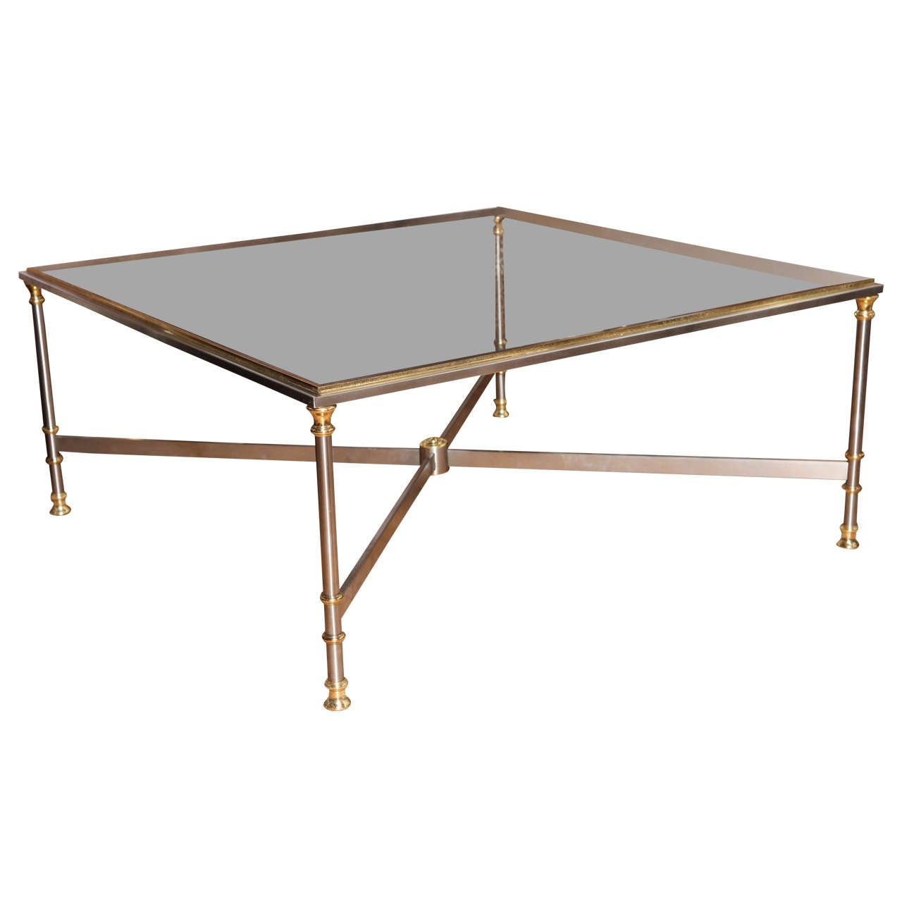 Large Steel And Brass Trimmed Glass Insert Coffee Table France Circa 1960 At 1stdibs