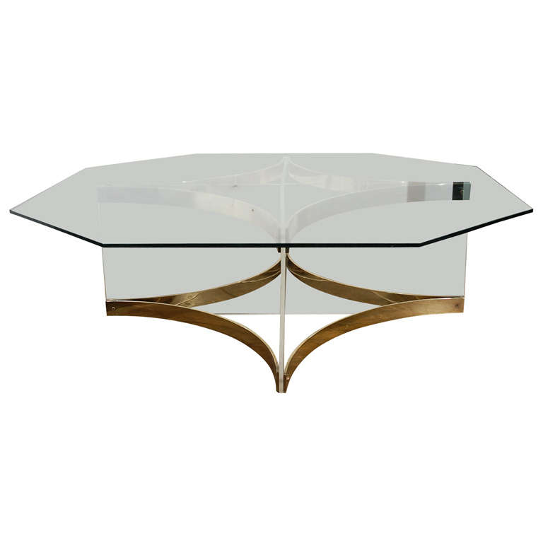 Albrizzi Glass Lucite Brass Coffee Cocktail Table At 1stdibs