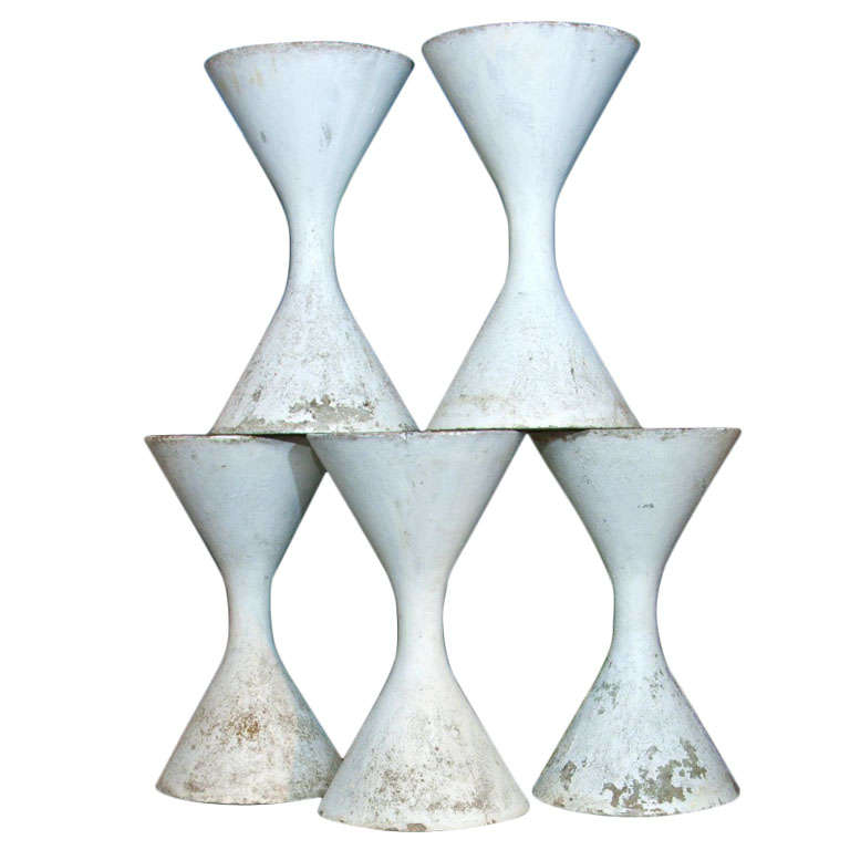 6 Authentic Willy Guhl Spindel Planters For Sale
