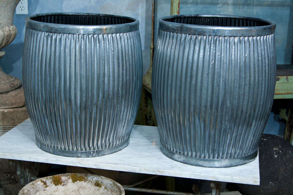 Pair Polished Galvanized Steel Tubs/Table Bases image 2