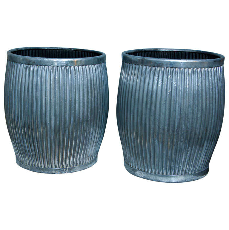 Pair Polished Galvanized Steel Tubs/Table Bases
