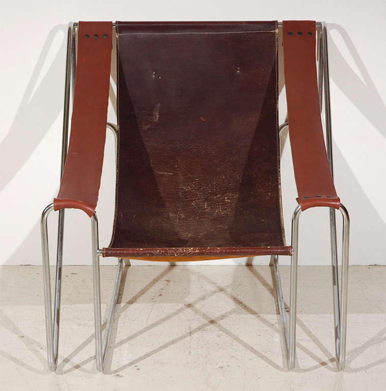 Single Leather Sling Back Chair, With Chrome Metal Tube Frame.