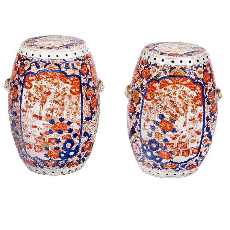 Pair Of 19th Century Imari Garden Seats For Sale