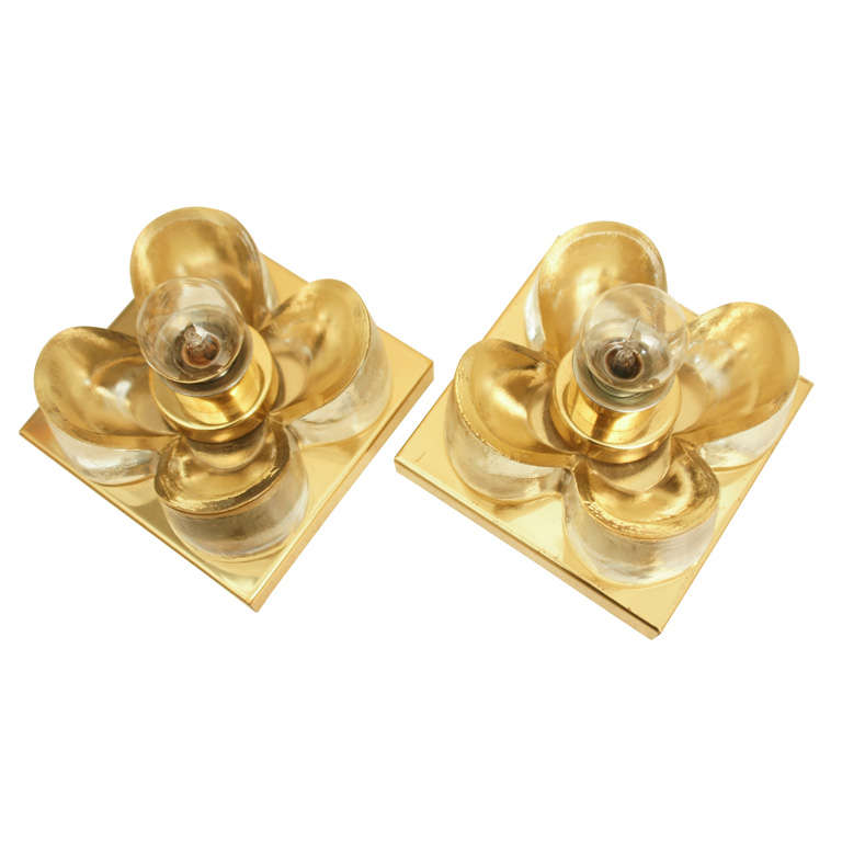 Glass Wall Sconces For Flowers : Pair Of Kalmar Glass Flower Sconces at 1stdibs