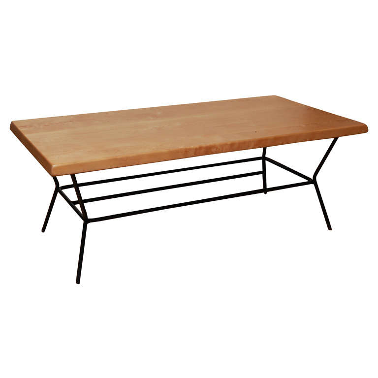 Birch Coffee Table With Black Metal Legs At 1stdibs