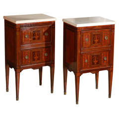 Pair of Petite Marble-Top Commodini
