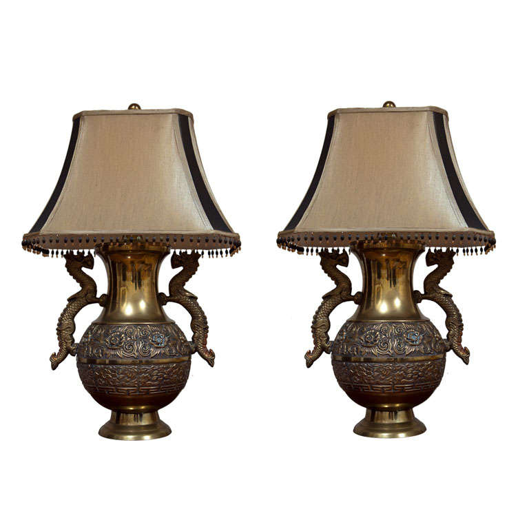 Pair Of French Brass Repoussé Dragon Lamps For Sale