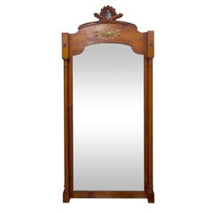 Elegant Full-Length Walnut 19th Century French Dressing Mirror