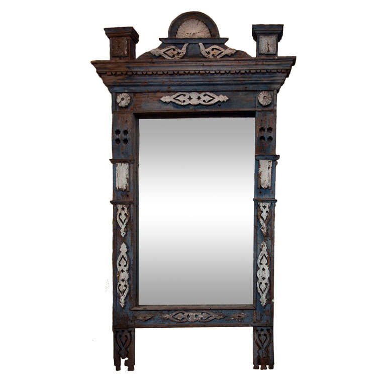 Large 19th Century Swedish Painted Wooden Mirror with Doves