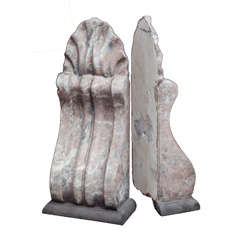 Pair of Grey-Pink Marble Acanthus Corbel Bookends