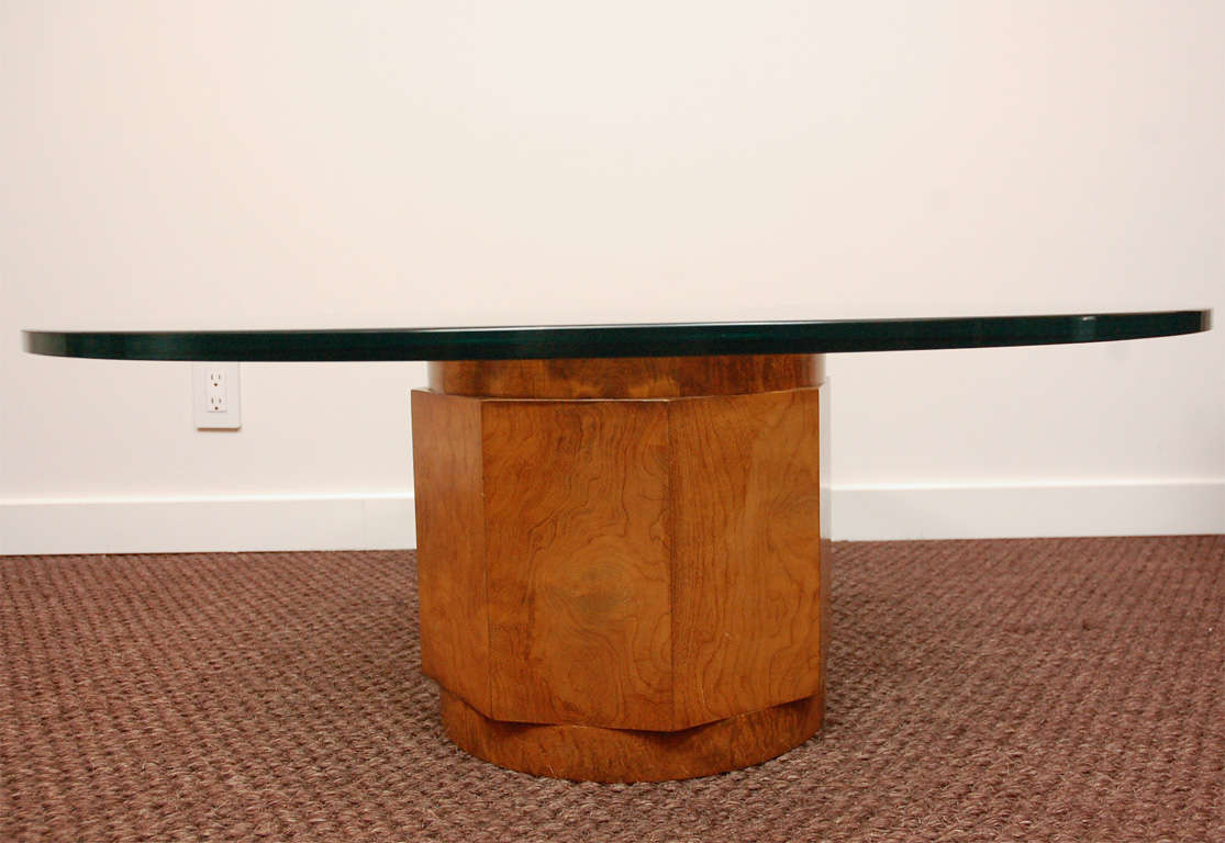 Glass Top Pedestal Cocktail Table By Edward Wormley For Dunbar At 1stdibs