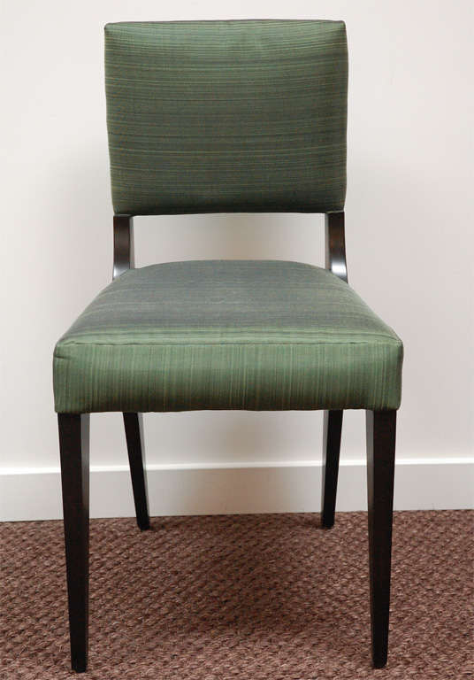 set of six custom dining chairs upholstered in horsehair for sale at