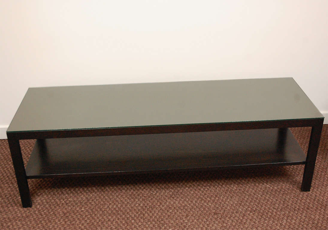 Long rectangular two tier table in ebonized finish for for Long coffee table
