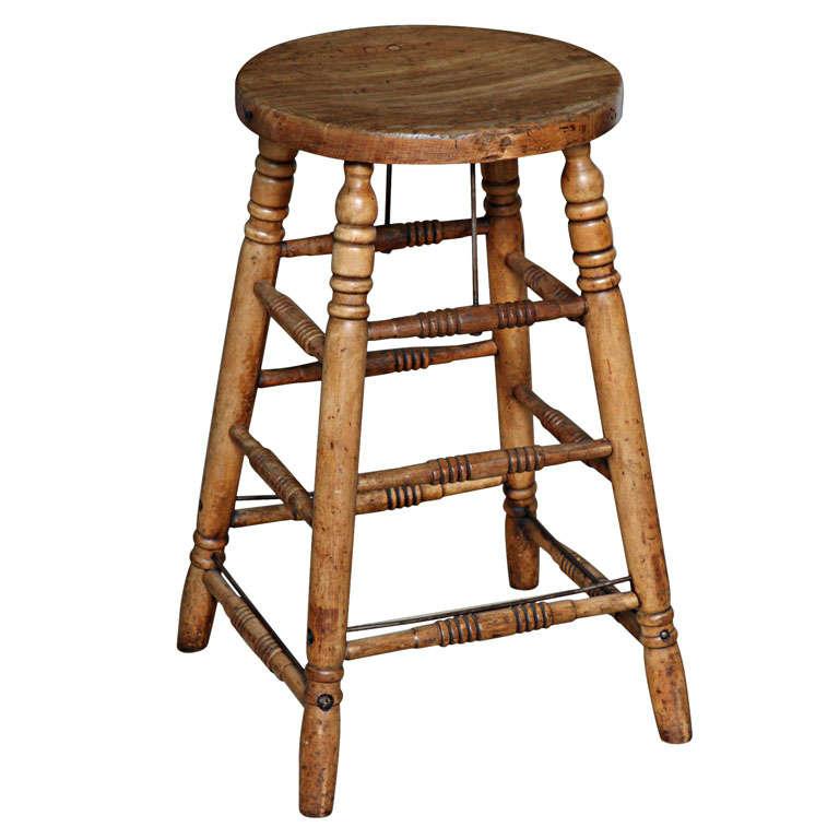 Original vintage industrial american made wooden stool
