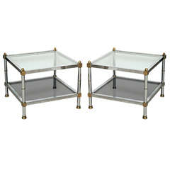 Pair of Maison Jansen Chrome and Brass Side Tables, Signed