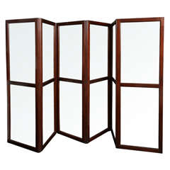 19th C. English Mahogany and Glass Six Panel Screen