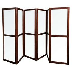 19th Century English Mahogany and Glass Six Panel Screen