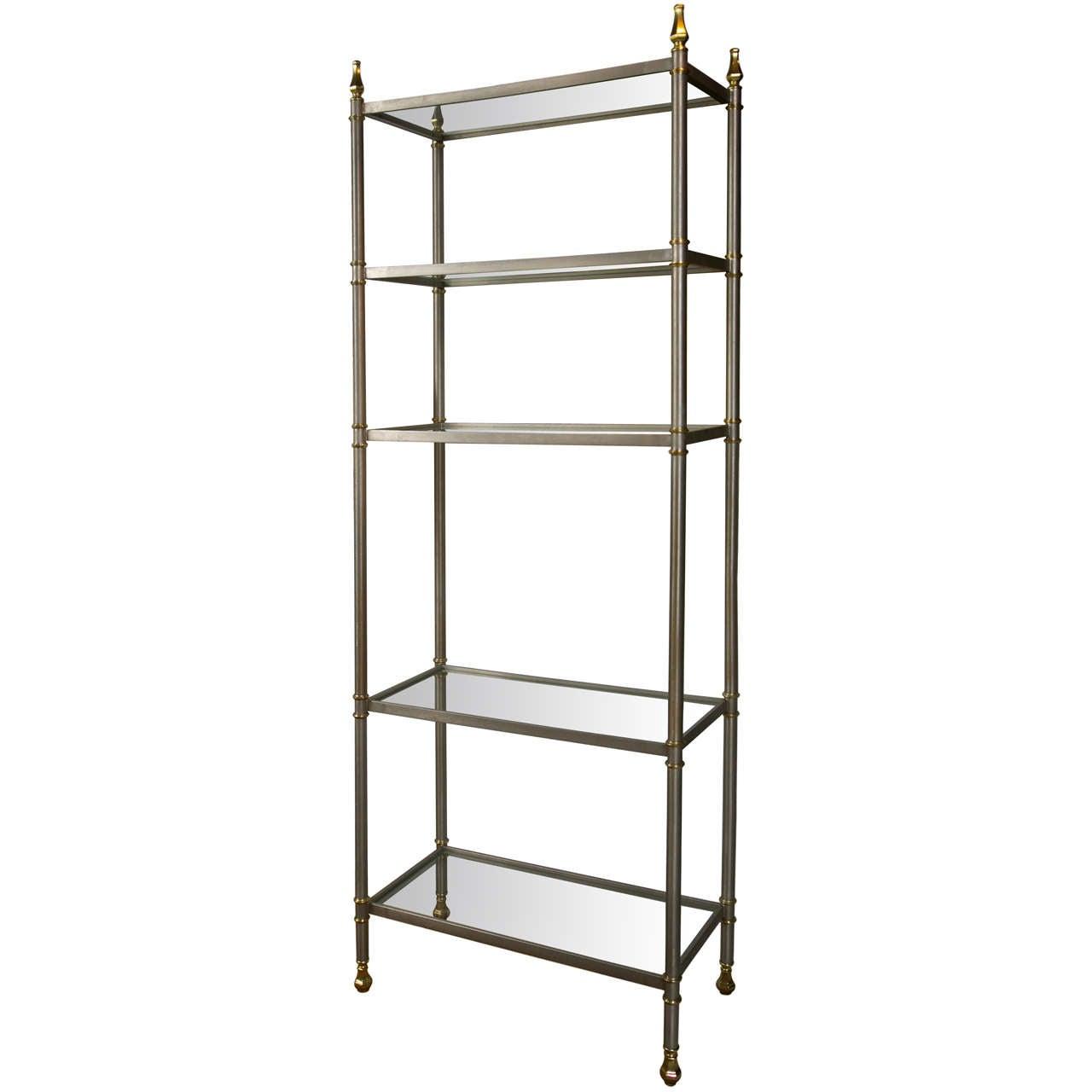 mid century modern brushed steel etagere at 1stdibs. Black Bedroom Furniture Sets. Home Design Ideas