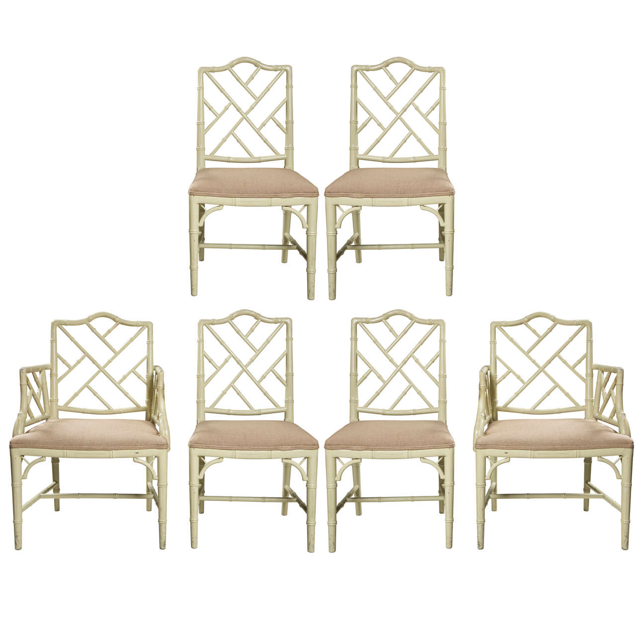 Set Of Six Faux Bamboo Chairs
