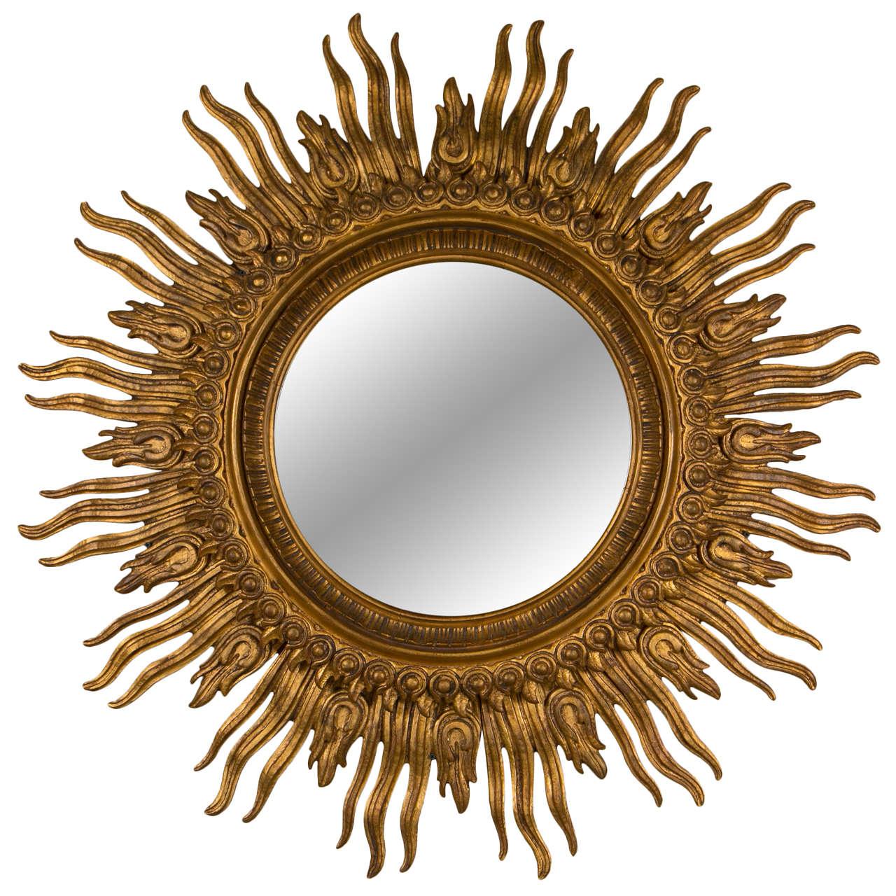 Carved gilt wood sunburst mirror at 1stdibs for Sunburst mirror