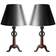 Pait of Iron Andiron Lamps