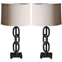 Pair of Black Iron Ring Lamps