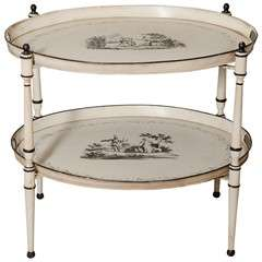 Italian Hand Painted 2-Tier Tole Tray Table