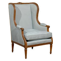 French Walnut Louis XVI style Wingback Bergère Chair with Light Blue Upholstery