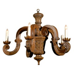 French 19th Century Five-Light Carved Oak Chandelier with S-Scroll Arms
