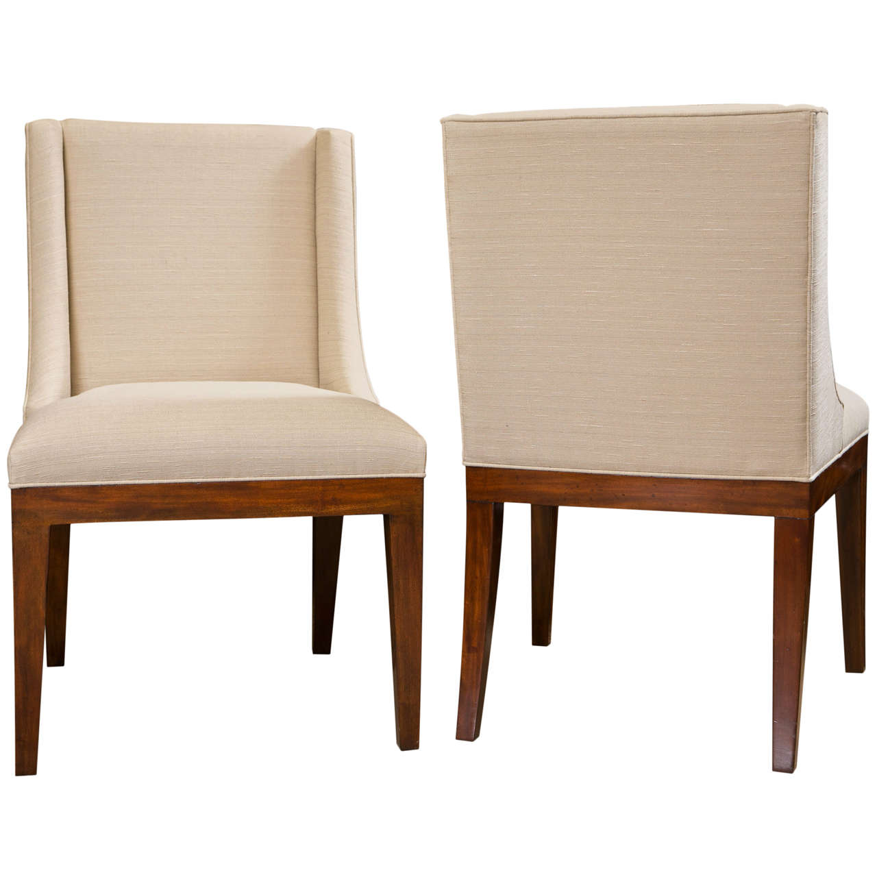 Set of 6 classic modern upholstered dining chairs at 1stdibs for Dining room sofa seating