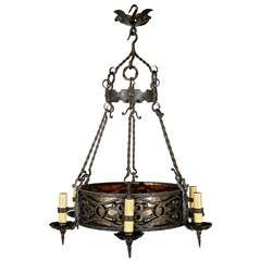 1920s French Iron Chandelier