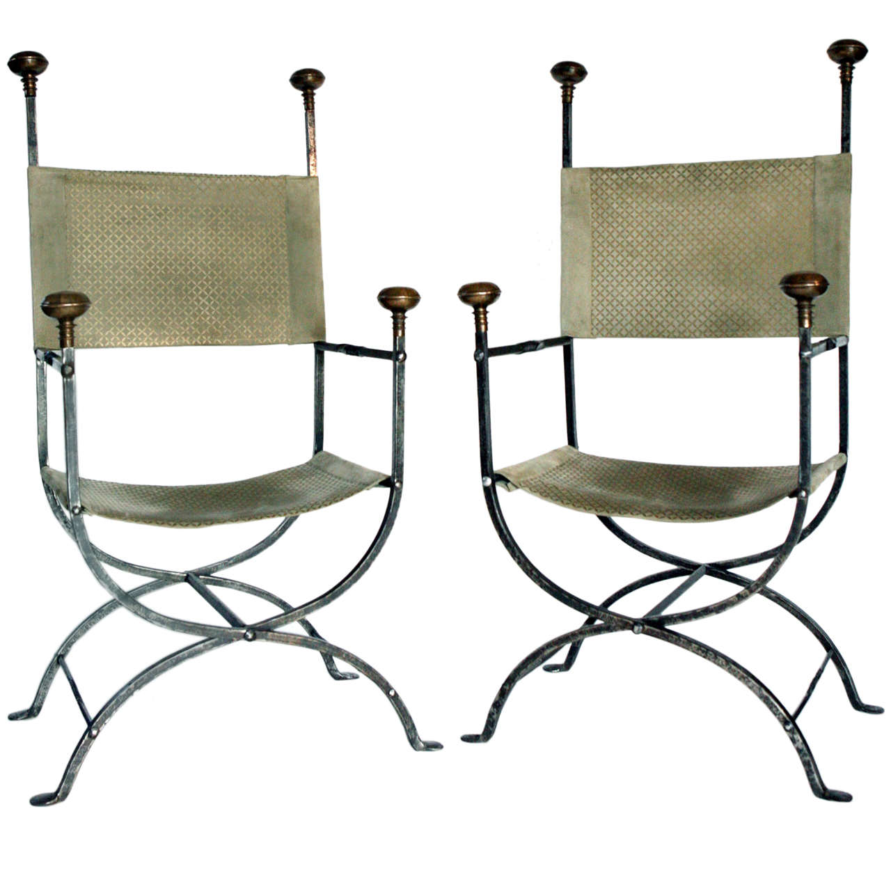 Pair of Italian Steel and Bronze Chairs