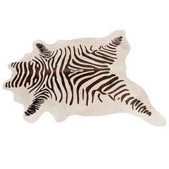 Chocolate Zebra Stamped Cowhide