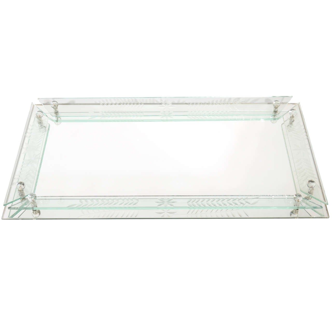 Art Deco Mirrored And Etched Glass Large Vanity Tray For