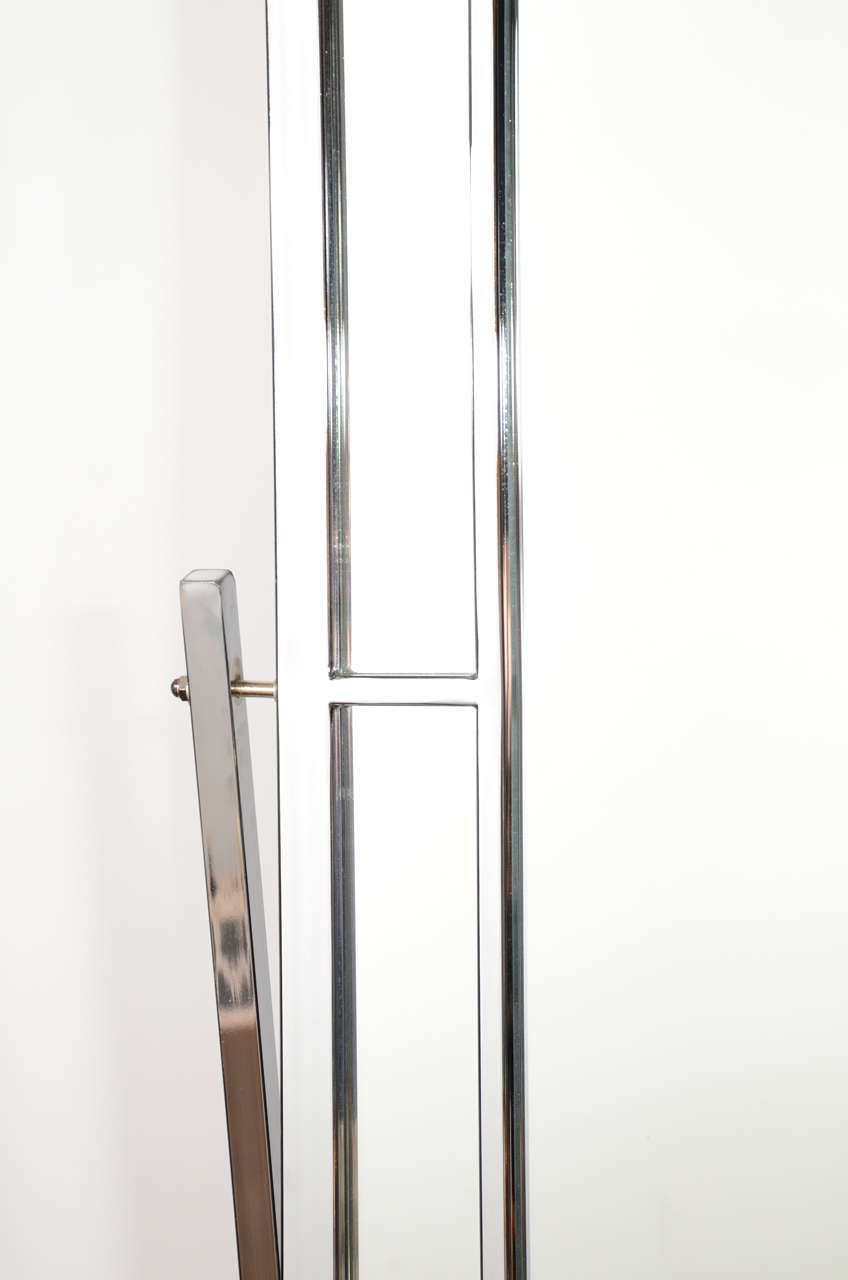Mid Century Modern Standing Chrome Mirror Attributed To