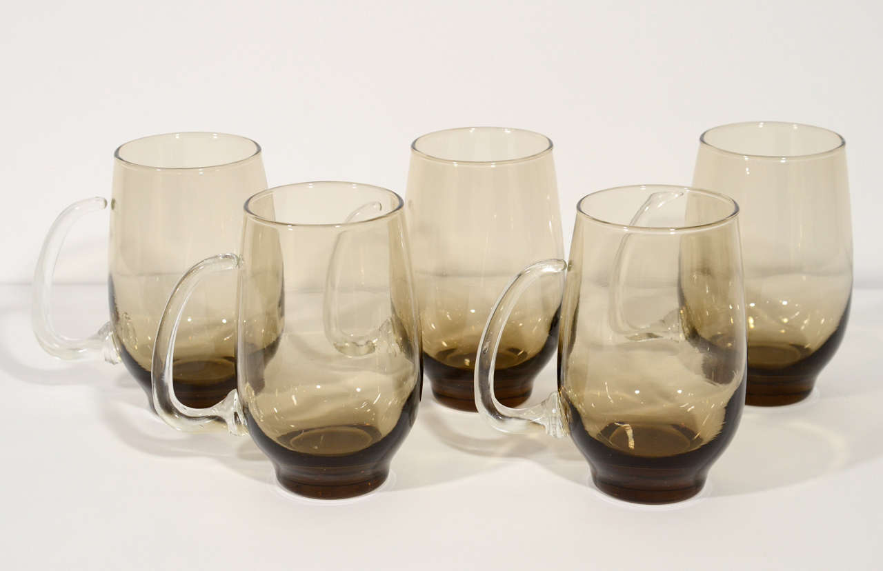 Set Of Six Mid Century Barware Gles Or Beer Mugs In N Gl With Smokey