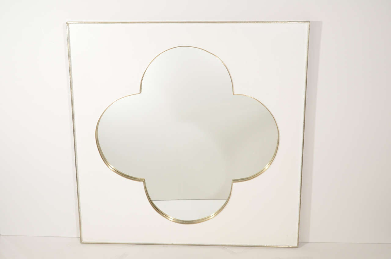 Gorgeous Square Mirror With Ornamental Tracery Center The Is Comprised Of White Plastered Finish