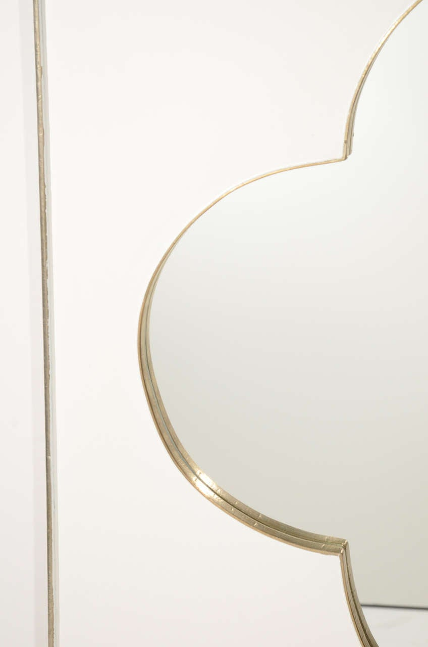 Modernist quatrefoil design mirror with white gold leaf for White and gold mirror
