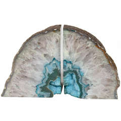 Pair of Natural Agate Bookends with Turquoise Geode Centers