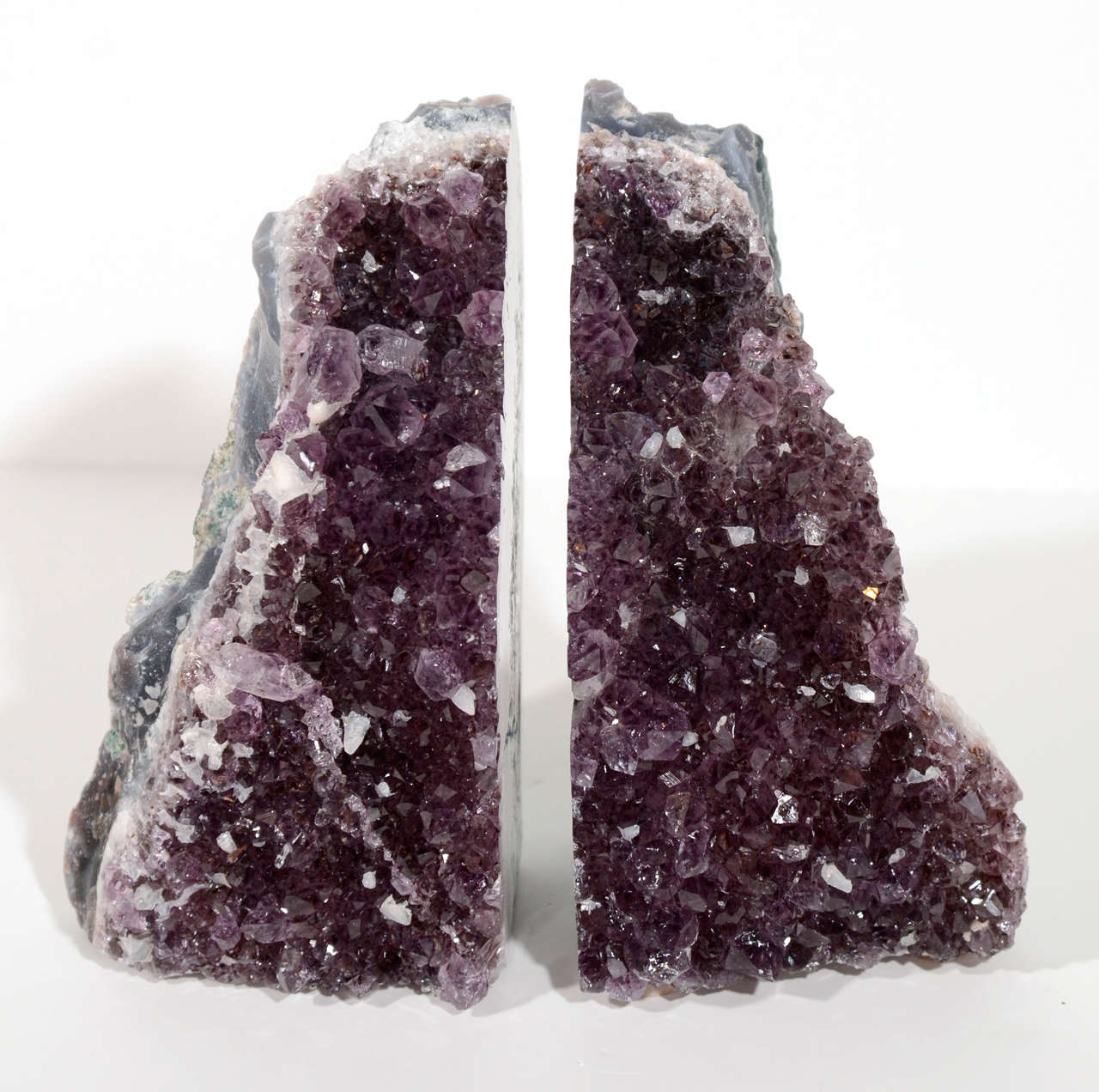 Pair of Rare Amethyst Crystal and Geode Bookends 2