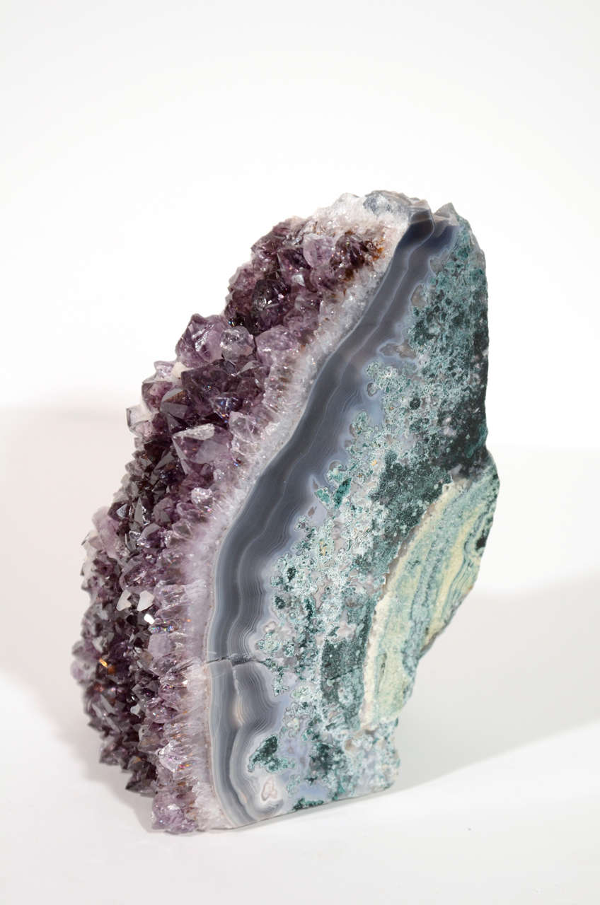 Pair of Rare Amethyst Crystal and Geode Bookends 4