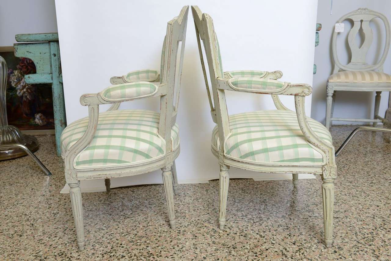 Wood 19th Century Pair of Antique Swedish Gustavian Painted Armchairs For Sale