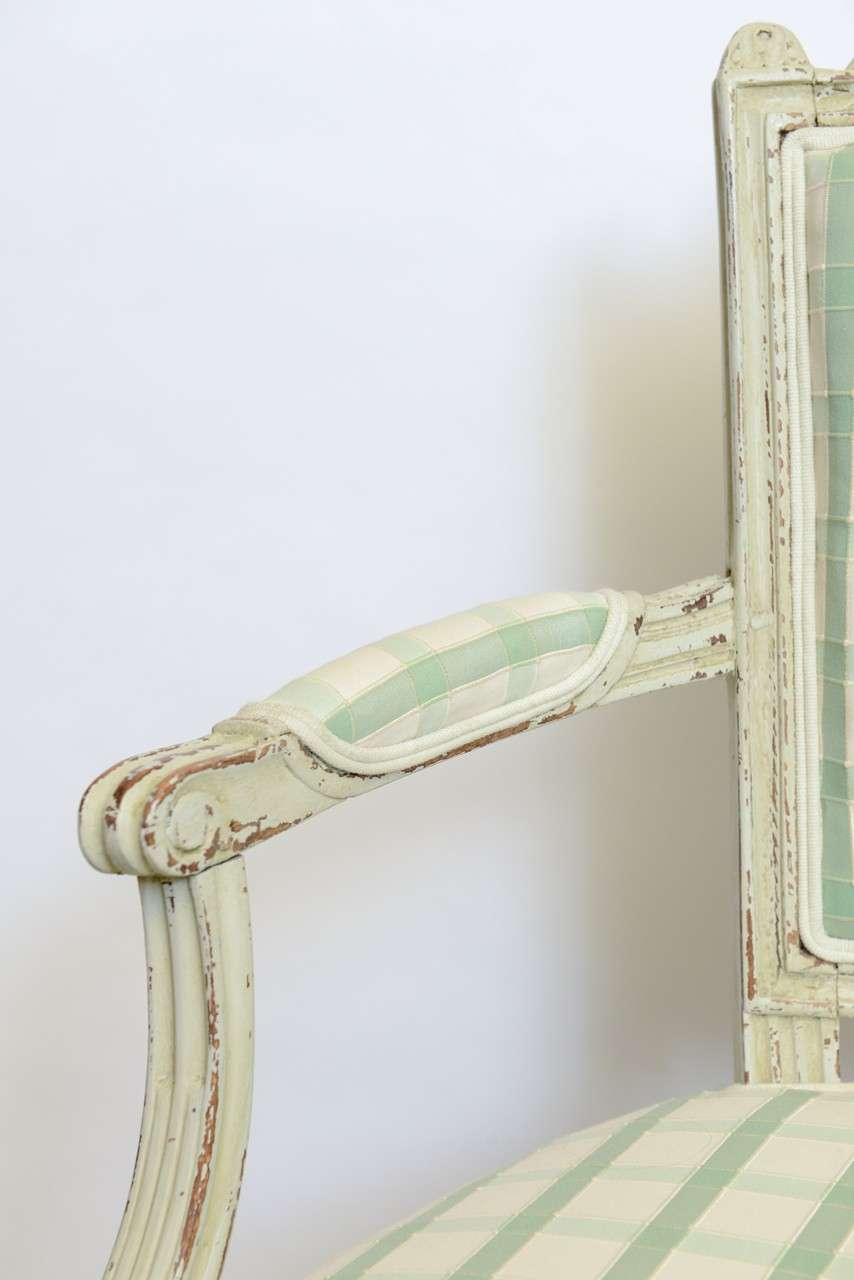 19th Century Pair of Antique Swedish Gustavian Painted Armchairs For Sale 4